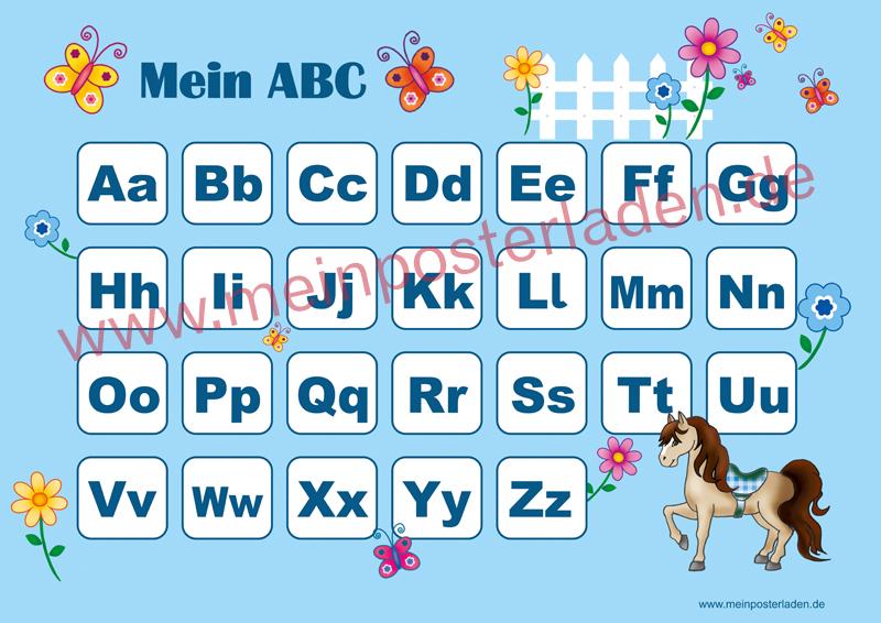 ABC Lernposter für die Grundschule mit Pony und Blümchen, optional laminiert