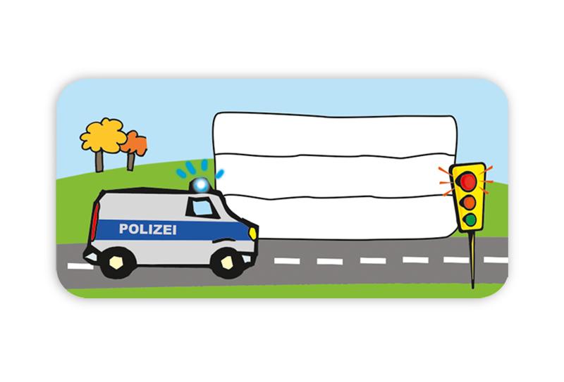 Heftaufkleber zum selber beschriften - Motiv: Polizei - hochwertige, umweltfreundliche PVC-freie Folie