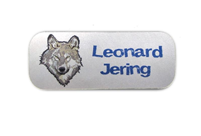 Silbermetallic Namensaufkleber: Wolf