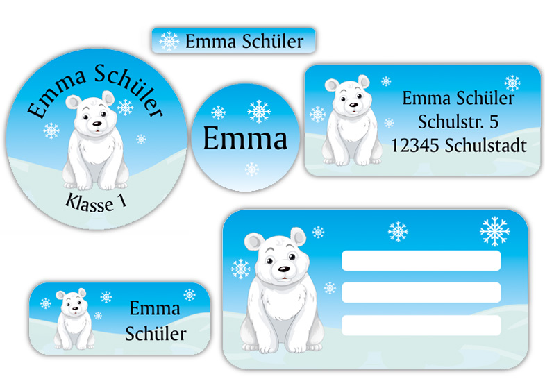 Schulaufkleber-Set - Motiv: Eisbär - Namensaufkleber, Stifteaufkleber, Adressaufkleber, Heftaufkleber,  hochwertige, umweltfreundliche PVC-freie Folie