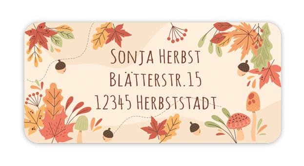 eckige Adressaufkleber mit Herbstblättern  auf umweltfreundlichen PVC-freien selbstklebenden Papier, wasserfest