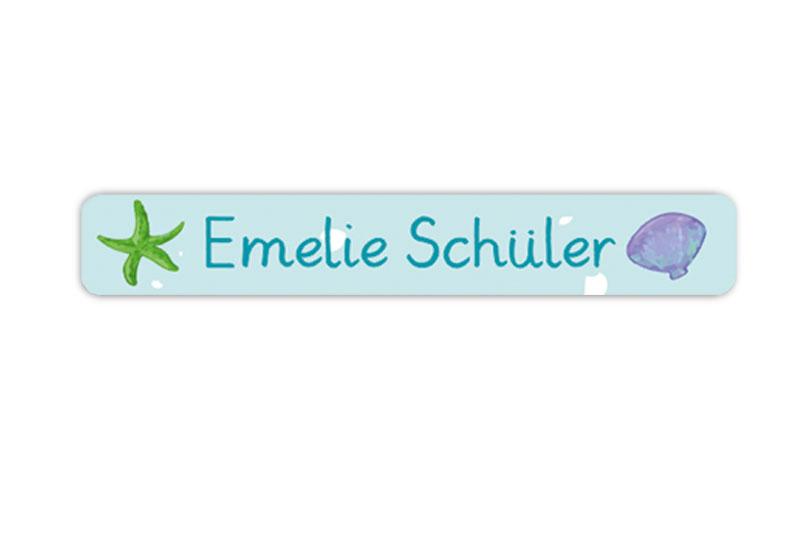 Stifteaufkleber 0,7 x 4,5 cm - hochwertige PVC-freie Folie - mit Namen personalisierbar - Motiv: Muschel und Seestern