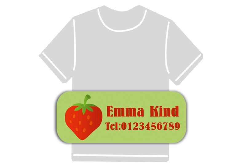 dauerhafte Bügeletiketten mit Namen für Kindergarten u. Schule - PVC frei -  Motiv: Erdbeere
