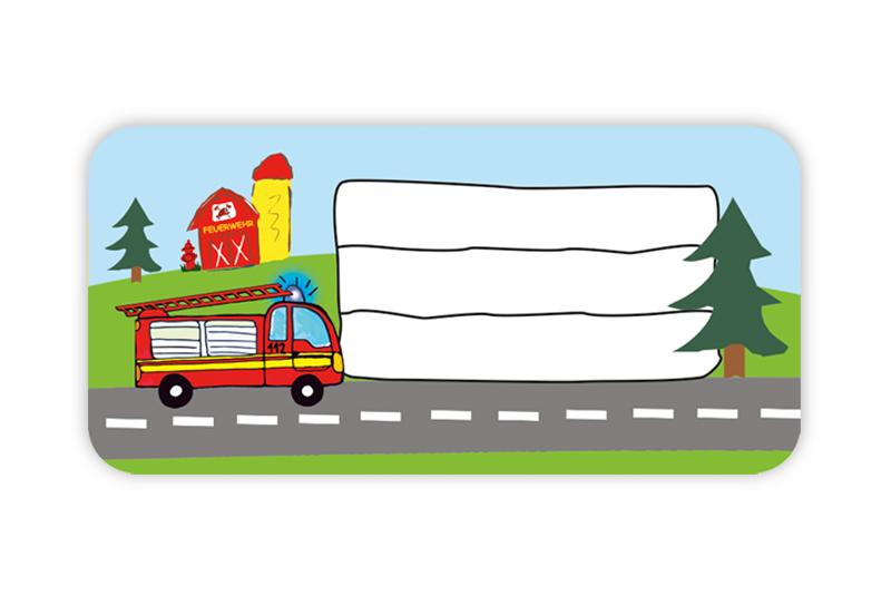 Heftaufkleber zum selber beschriften - Motiv: Feuerwehr - hochwertige, umweltfreundliche PVC-freie Folie