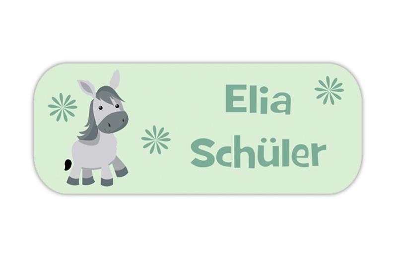 eckige Namensaufkleber, Motiv: Esel,  hochwertige, umweltfreundliche PVC-freie Folie, spülmaschinenfest