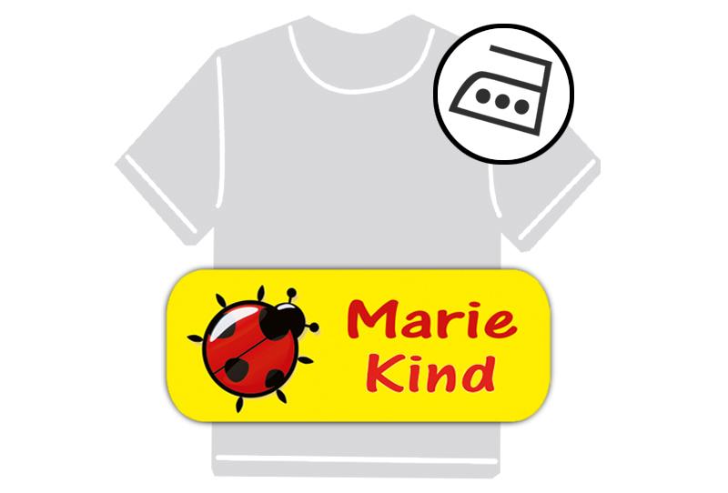 dauerhafte Bügeletiketten mit Namen für Kindergarten u. Schule - PVC frei -  Motiv: Marienkäfer