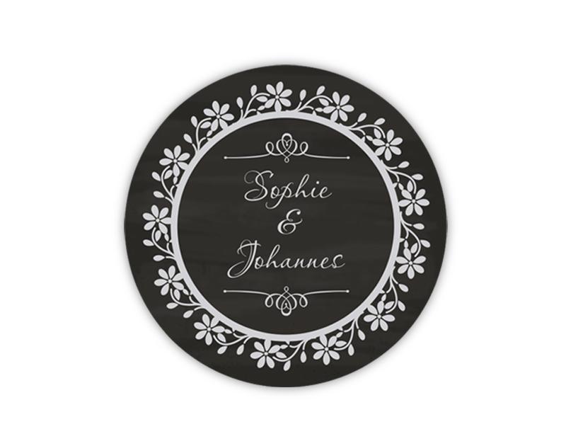 personalisierbare Hochzeitsaufkleber - Ornamente Vintage, Aufkleber mit Tafeloptik Chalkboard - für Verlobungen, Hochzeiten, Familienfeiern, Gastgeschenke, Einladungen, Dankesbriefe