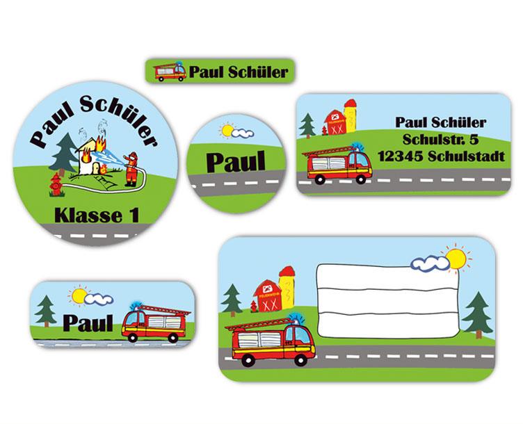 Schulaufkleber-Set - Motiv: Feuerwehr - Namensaufkleber, Stifteaufkleber, Adressaufkleber, Heftaufkleber,  hochwertige, umweltfreundliche PVC-freie Folie