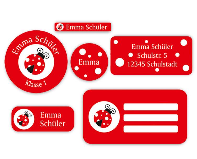 Schulaufkleber-Set - Motiv: Marienkäfer - Namensaufkleber, Stifteaufkleber, Adressaufkleber, Heftaufkleber,  hochwertige, umweltfreundliche PVC-freie Folie