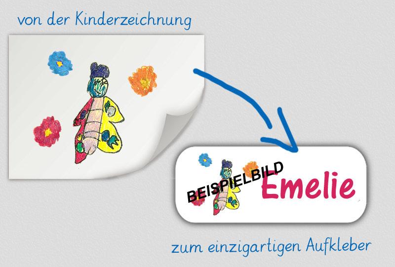 einzigartige eckige Namensaufkleber personalisierbar mit einer eigenen Kinderzeichnung,  hochwertige, umweltfreundliche PVC-freie Folie