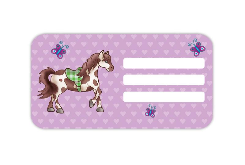 Heftaufkleber zum selber beschriften - Motiv: Pferd mit Schmetterlinge - hochwertige, umweltfreundliche PVC-freie Folie