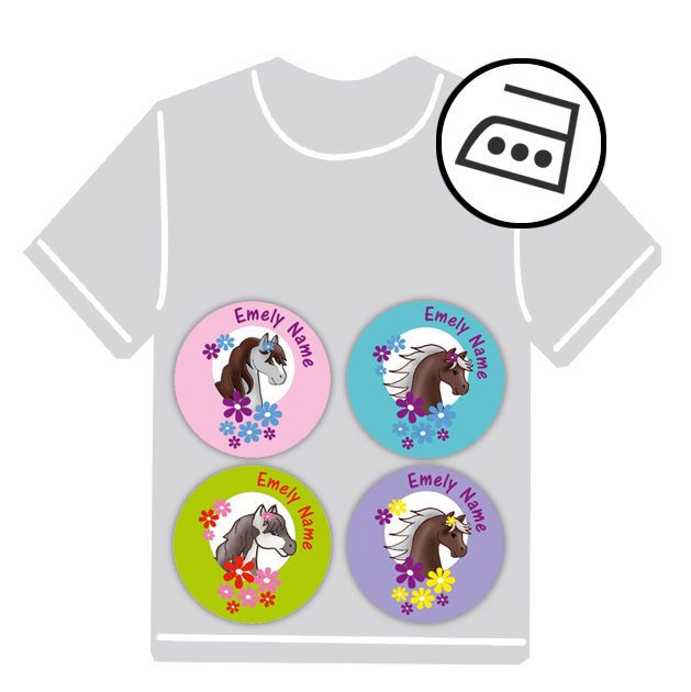 dauerhafte runde Bügeletiketten - auch personalisierbar mit Namen oder Initialen - für Kindergarten u. Schule - PVC frei -  Motiv: Pony mit Blumen