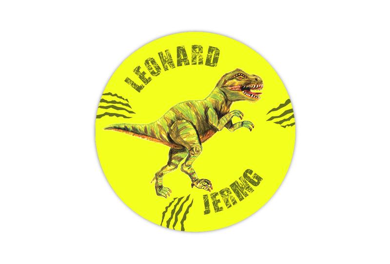 runde Neon Namensaufkleber: T-Rex - auffällig durch intensive Leuchtwirkung
