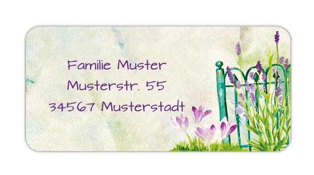 eckige Adressaufkleber mit Lavendel am Zaun, auf umweltfreundlichen PVC-freien selbstklebenden Papier, wasserfest