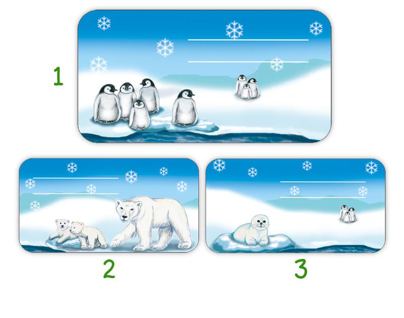 Heftaufkleber zum selber beschriften - Motiv: Polarwelt Tiere - Eisbär, Pinguine, Babyrobbe - hochwertige, umweltfreundliche PVC-freie Folie