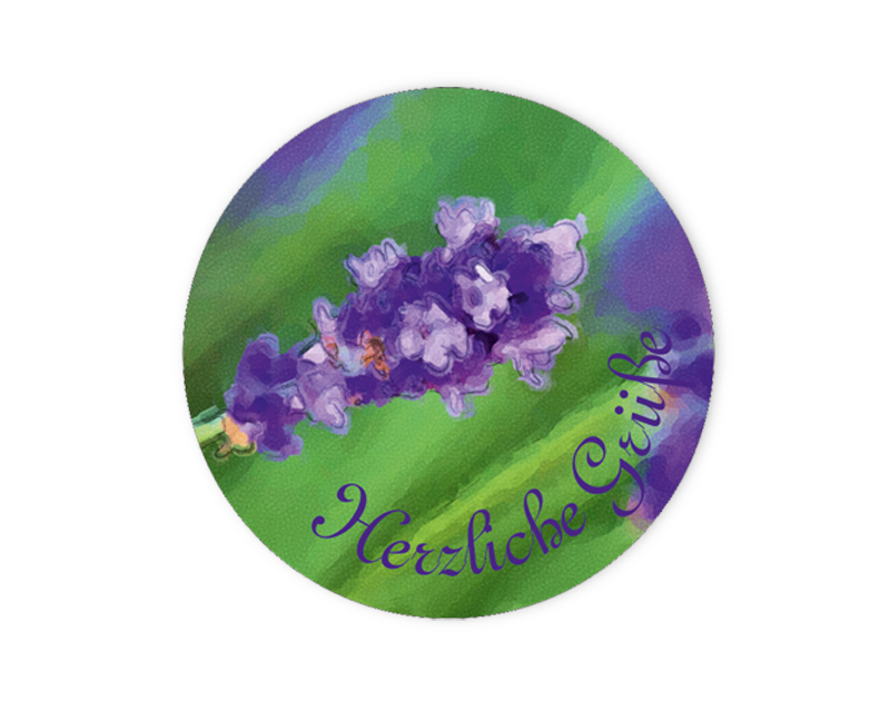 """Geschenkaufkleber - """"Herzliche Grüße"""" Lavendel -  im Aquarellstil - für Dankesbriefe, Briefe, Geschenke, Einladungen und kleinen Aufmerksamkeiten im Alltag"""