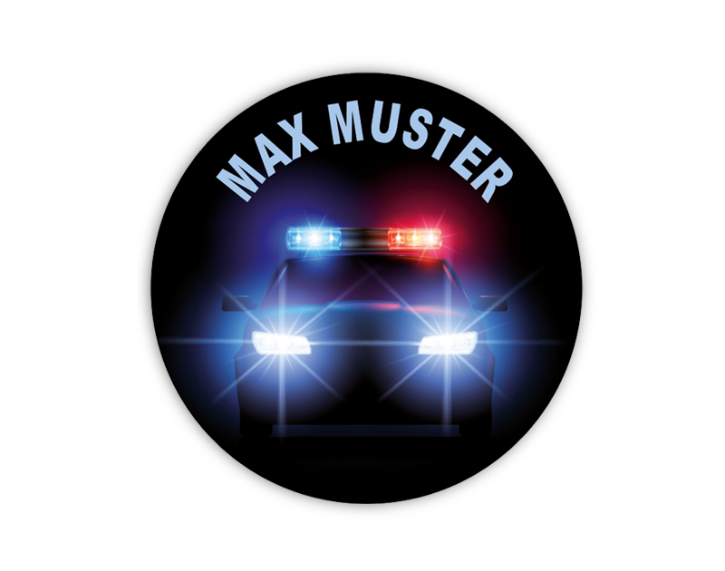 runde Namensaufkleber, Motiv: Police - Polizeiauto USA,  hochwertige, umweltfreundliche PVC-freie Folie