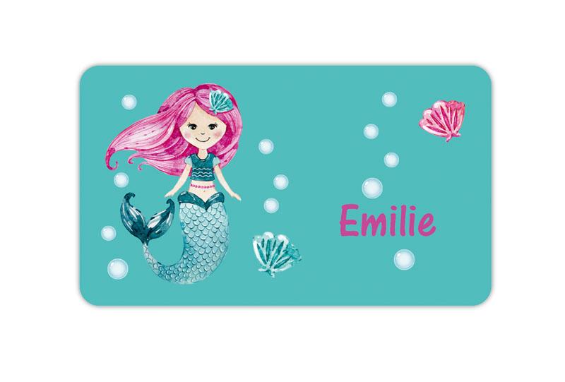 Brotdosenaufkleber 12 x 7 cm  - Motiv: Meerjungfrau - hochwertige PVC-freie Folie, ungiftige Farben - mit Namen personalisierbar