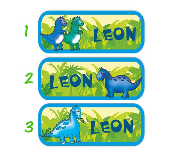 eckige Namensaufkleber, Motiv: Dinos, T-Rex, Langhals, hochwertige, umweltfreundliche PVC-freie Folie