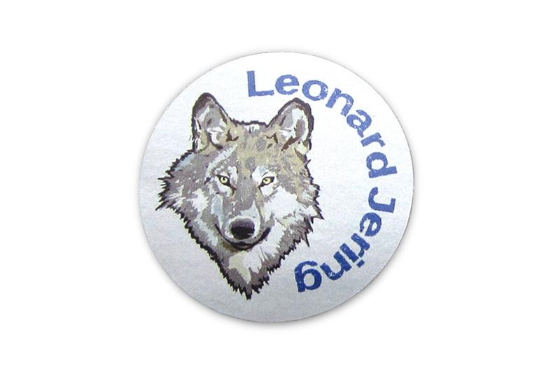 runde Silbermetallic Namensaufkleber: Wolf