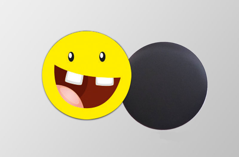Mini Magnetbilder- rund- Motiv: Lachgesicht,  für Kinderpartys, Motopartys, Kindergarten, Gastgeschenke, Geschenk