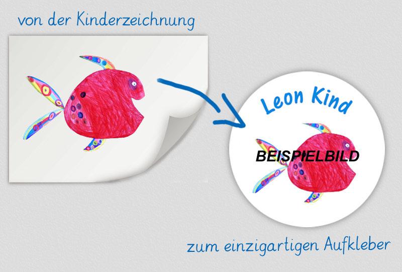 einzigartige runde Namensaufkleber personalisierbar mit einer eigenen Kinderzeichnung,  hochwertige, umweltfreundliche PVC-freie Folie