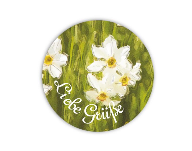 """Geschenkaufkleber - """"Liebe Grüße"""" weiße Narzisse -  im Aquarellstil - für Dankesbriefe, Briefe, Geschenke, Einladungen und kleinen Aufmerksamkeiten im Alltag"""
