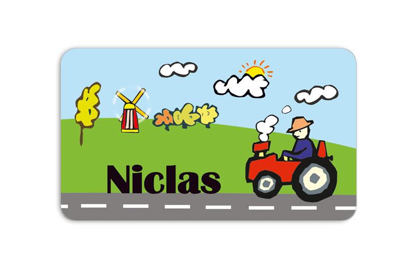 Brotdosenaufkleber 12 x 7 cm  - Motiv: Traktor - hochwertige PVC-freie Folie, ungiftige Farben - mit Namen personalisierbar