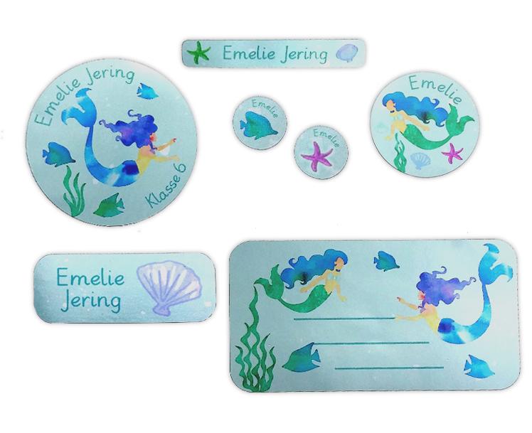 Silbermetallic Schulaufkleber-Set: Meerjungfrau, mit verschiedene Namensaufkleber, Stifteaufkleber, Heftaufkleber