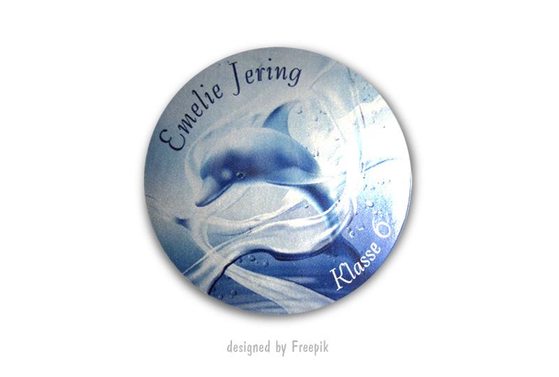 runde Silbermetallic Namensaufkleber: Delfin