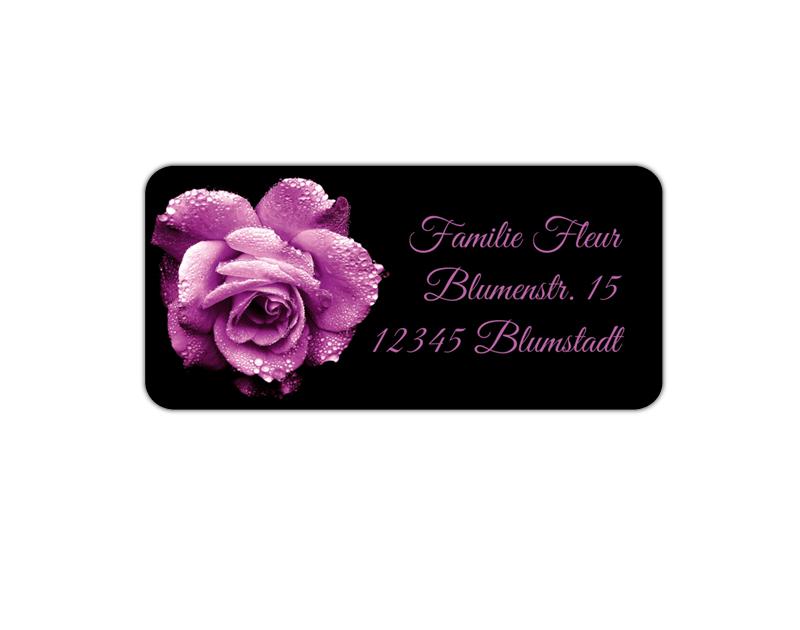 eckige Adressaufkleber mit romantischer lila Rose, auf umweltfreundlichen PVC-freien selbstklebenden Papier, wasserfest