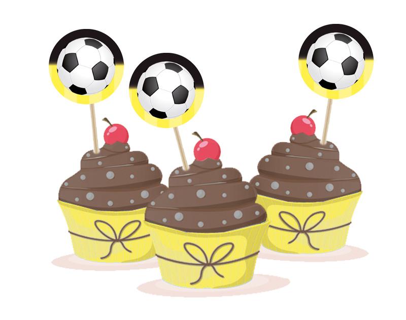 Kuchendeko - Aufkleber für Cupcakes - Fußball
