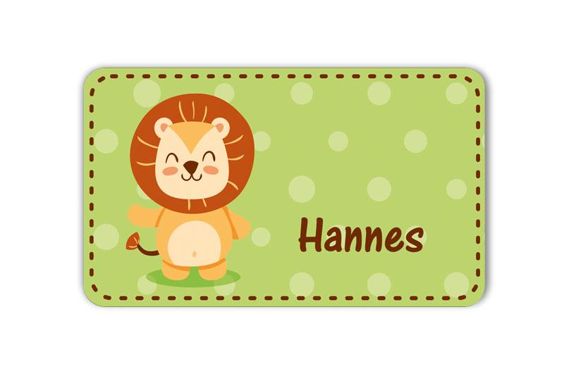 Brotdosenaufkleber 12 x 7 cm  - Motiv: niedlicher Löwe - hochwertige PVC-freie Folie, ungiftige Farben - mit Namen personalisierbar