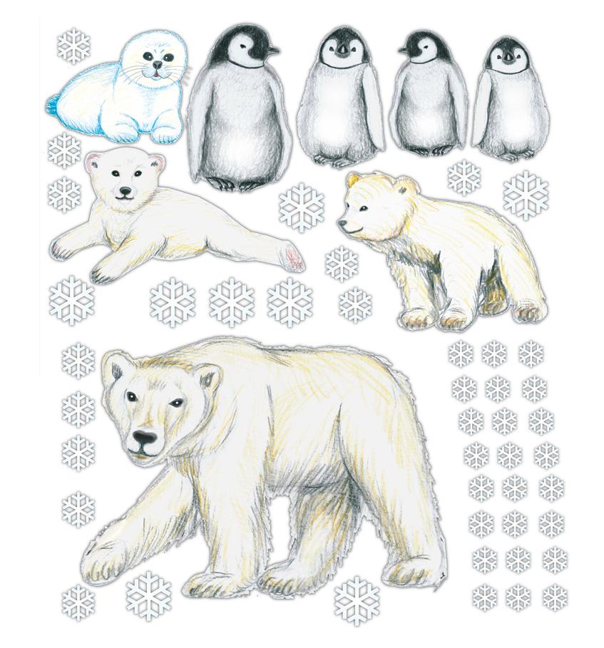 Wandtattoos mit Eisbär, Pinguinen, Schneeflocken - Motive liebevoll handgemalt