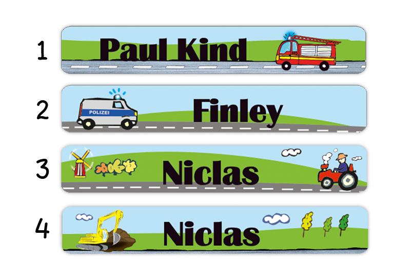Stifteaufkleber 0,7 x 4,5 cm - hochwertige PVC-freie Folie - mit Namen personalisierbar - Motiv: Fahrzeuge, Feuerwehr, Polizei, Traktor, Bagger