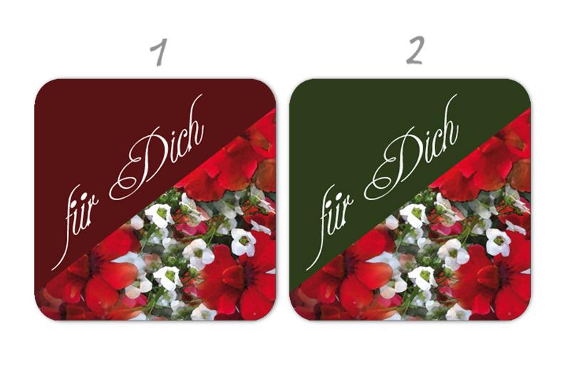 """Geschenkaufkleber - """"für Dich"""" rote Pelargonien - für Dankesbriefe, Briefe, Geschenke, Einladungen und kleinen Aufmerksamkeiten im Alltag"""