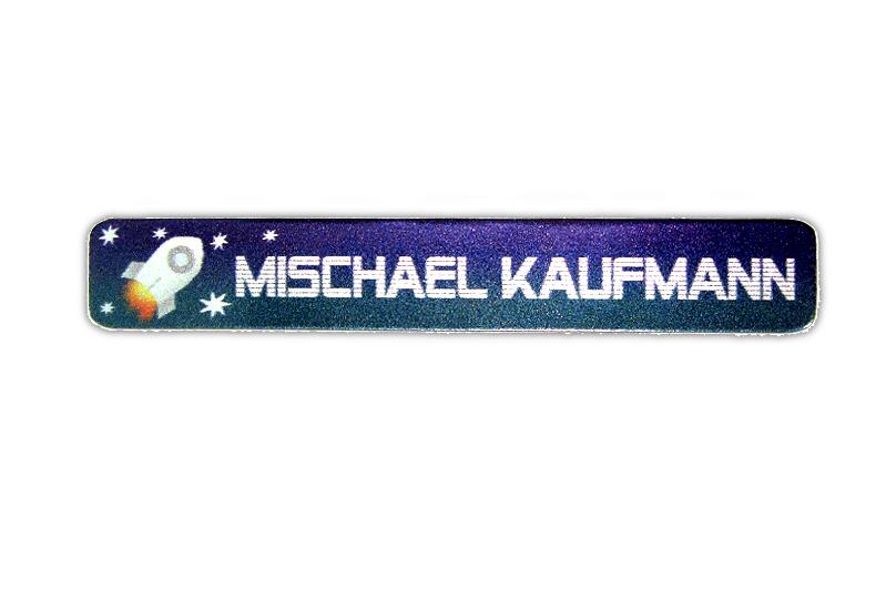 Metallic Stifteaufkleber 0,7 x 4,5 cm - gedruckt auf silbermetallic Folie - mit Namen personalisierbar - Motiv: Rakete