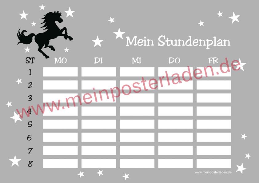 A4 Stundenplan mit Wildpferd und Sternchen, optional wiederbeschreibbar