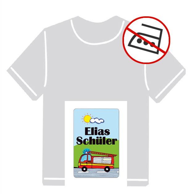 Kleidungsaufkleber für kurzfristige Markierung der Kleidung - ohne Aufbügeln - pvc-frei - Motiv: Feuerwehr
