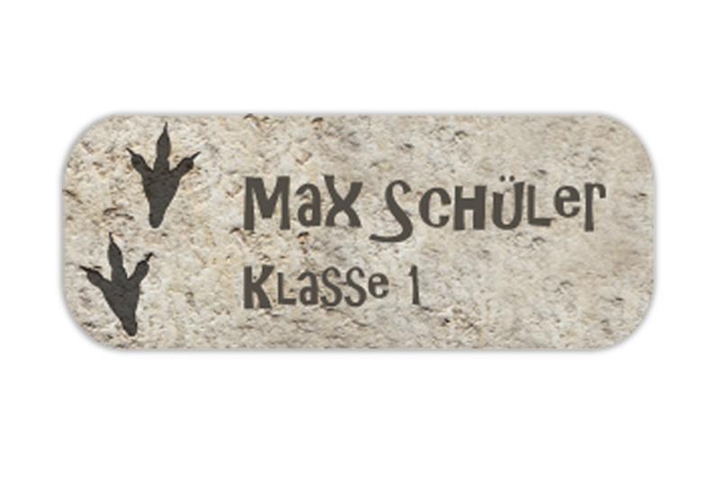eckige Namensaufkleber, Motiv: Dino Spuren auf Stein,  hochwertige, umweltfreundliche PVC-freie Folie