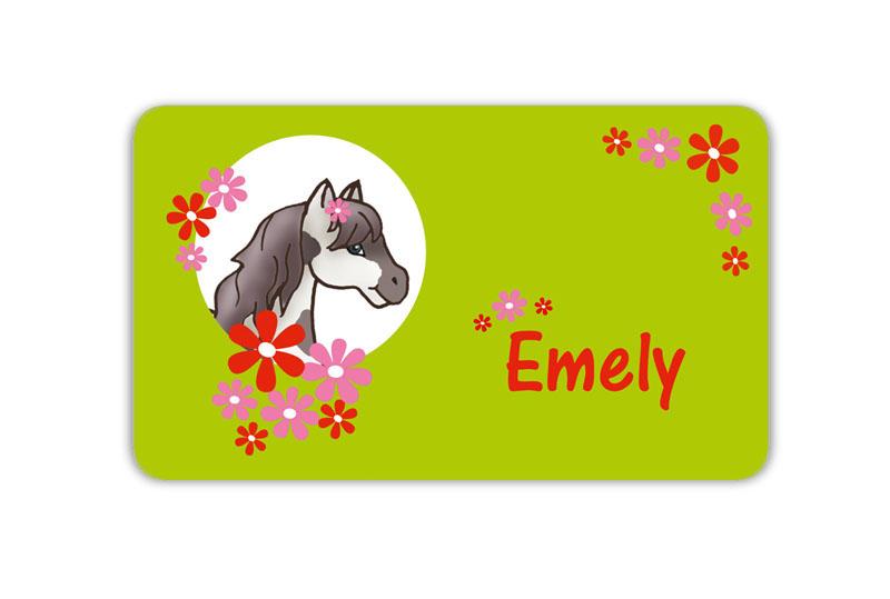 Brotdosenaufkleber 12 x 7 cm  - Motiv: Pony mit Blümchen - hochwertige PVC-freie Folie, ungiftige Farben - mit Namen personalisierbar