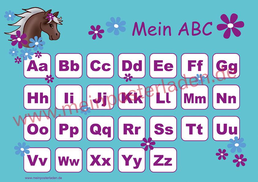 ABC Lernposter: Pony Blumen