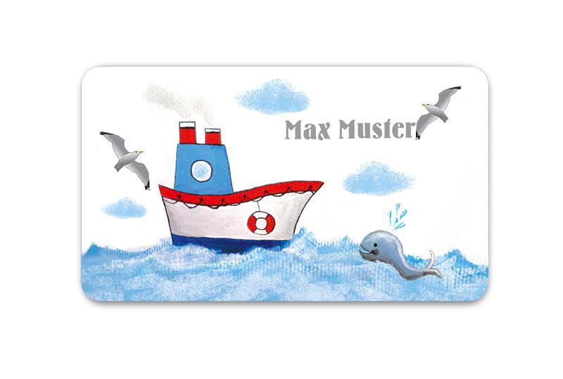 Brotdosenaufkleber 12 x 7 cm  - Motiv: Schiff mit Wal - hochwertige PVC-freie Folie, ungiftige Farben - mit Namen personalisierbar