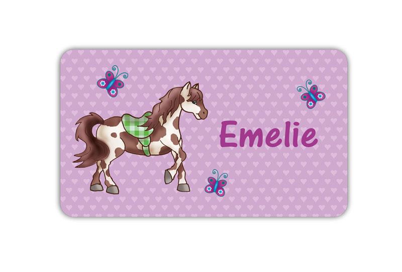 Brotdosenaufkleber 12 x 7 cm  - Motiv: Pferd mit Herzchen und Schmetterlingen - hochwertige PVC-freie Folie, ungiftige Farben - mit Namen personalisierbar