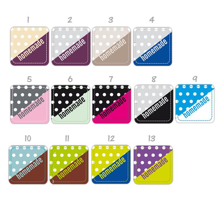 Etiketten für dein Label: homemade - in vielen Farben mit peppigen Punkten