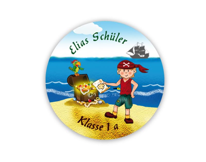 runde Namensaufkleber, Motiv: kleiner Pirat mit Goldschatz und Piratenschiff,  hochwertige, umweltfreundliche PVC-freie Folie