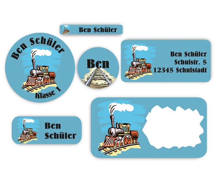 Schulaufkleber-Set - Motiv: Lokomotive - Namensaufkleber, Stifteaufkleber, Adressaufkleber, Heftaufkleber,  hochwertige, umweltfreundliche PVC-freie Folie