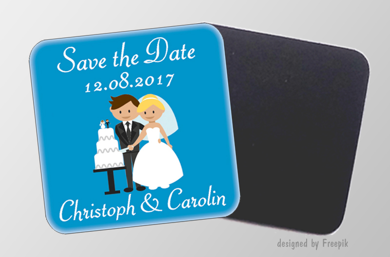 Save the Date -personaliserbare Magnetbilder- quadratisch - Motiv: Hochzeitspaar mit Torte, für Hochzeiten, Einladungen, Gastgeschenke
