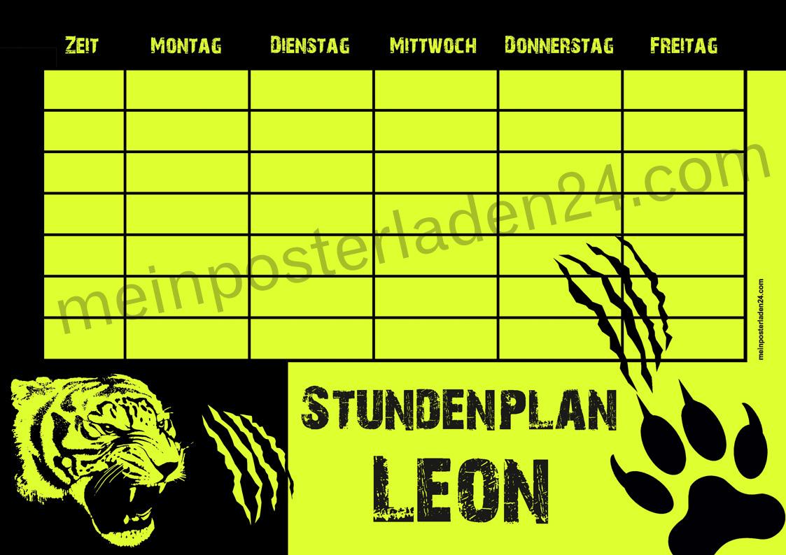 Neon Stundenplan: Tiger