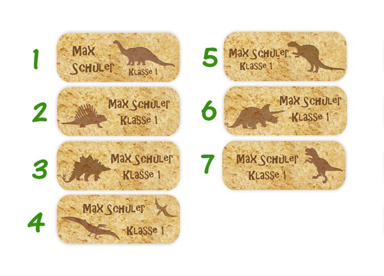 eckige Namensaufkleber, Motiv: Dinos mit Steinoptik, T-Rex, Langhals, Stegosaurus, hochwertige, umweltfreundliche PVC-freie Folie